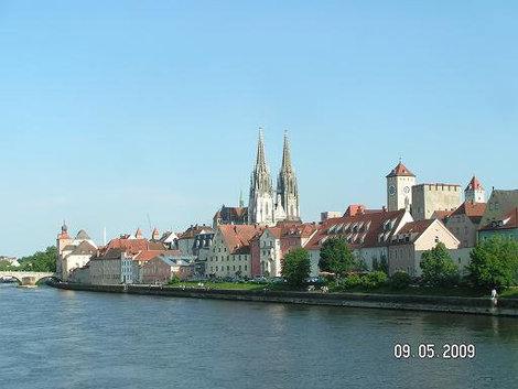 Характерная панорама Регенсбург, Германия