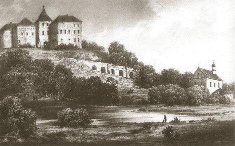 Олесько на литографии Н. Орды