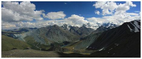 Панорама с перевала Кара-Тюрек на Белуху, Аккемское озеро и долину Ярлу