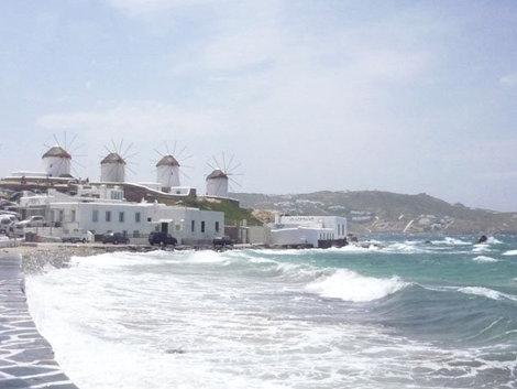 Вид на старинные мельницы, Миконос