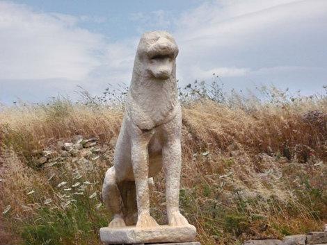 Копия львиной скульптуры, остров Делос