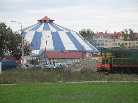фото Бело-голубой  купол цирка в Автово.