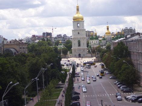Вид с колокольни на Софийскую площадь