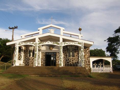 Католическая церковь построенна в папуасском стиле.