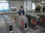 Сеульское метро.  Турникеты.