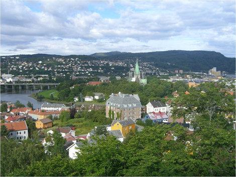 Вид на Тронхейм с высоты крепости