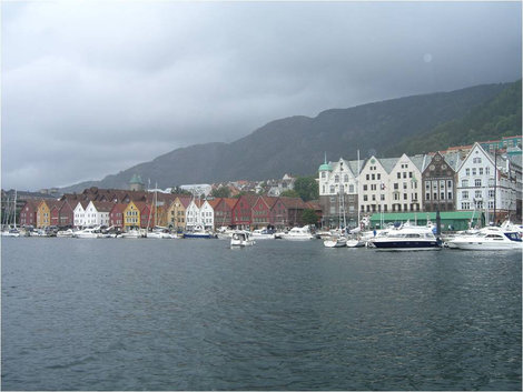 Вид на квартал Берген, Норвегия