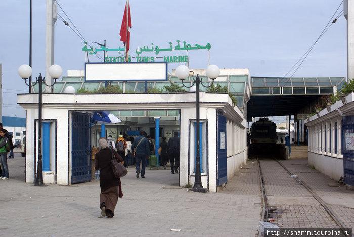Конечная станция скоростного трамвая в Тунисе. Отсюда идут трамваи в Суди Бу-Зид и Карфаген