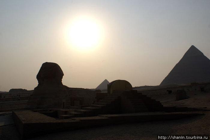 Солнце над пирамидами и Сфинксом