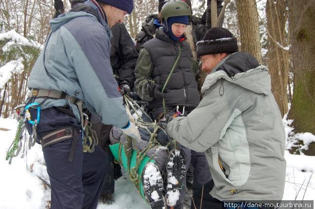 На спусках носилки разворачивают ногами вперед. Это делается для того, чтобы голова пострадавшего была выше уровня ног.