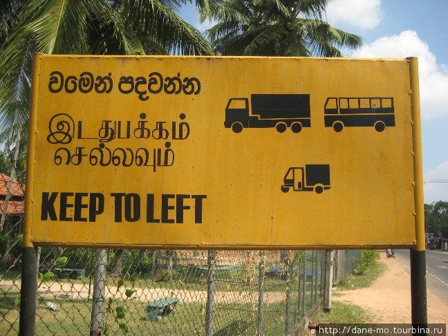 На Шри-Ланке движение левостороннее, к чему привыкнуть удается не сразу.