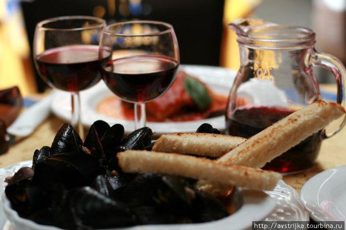мидии и домашнее вино