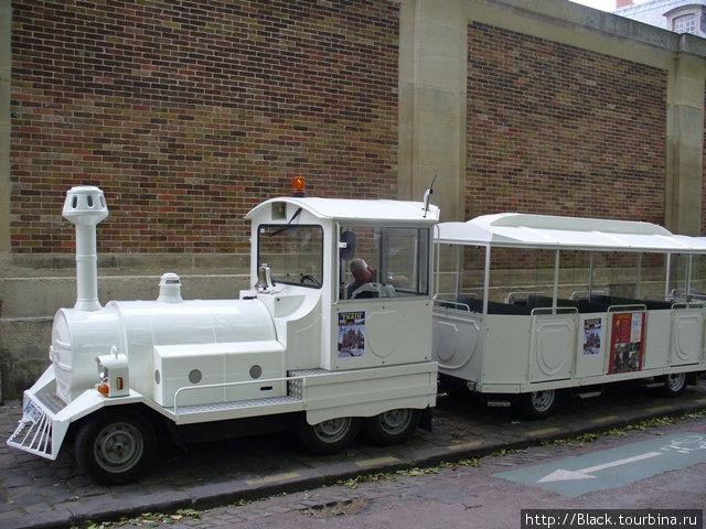 Вот такой паровозик стоял на улицах Версаля. Наверное на нем катают по самому городу