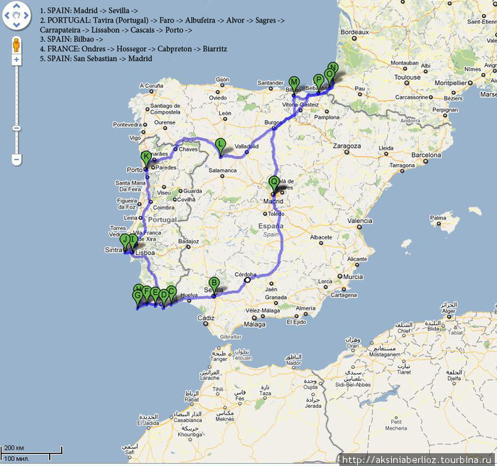 Карта нашего маршрута