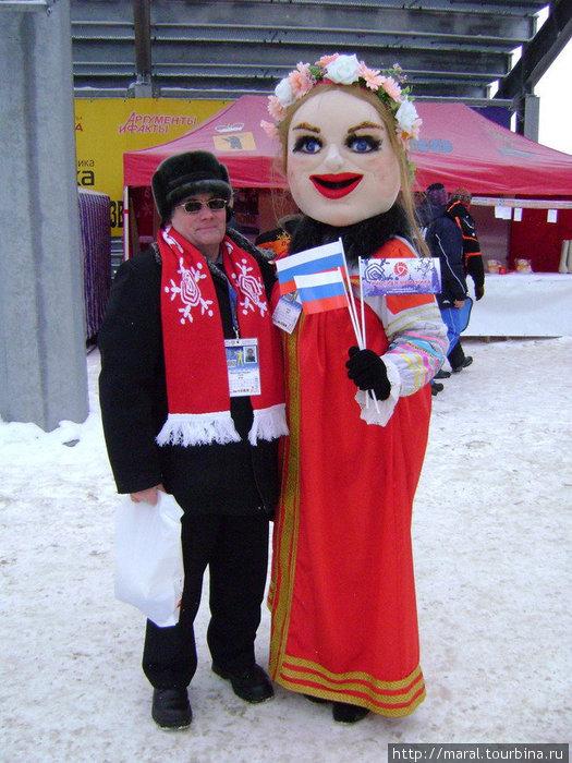 Вот такая русская красавица с длинною косой вдохновляла спортсменов на успех