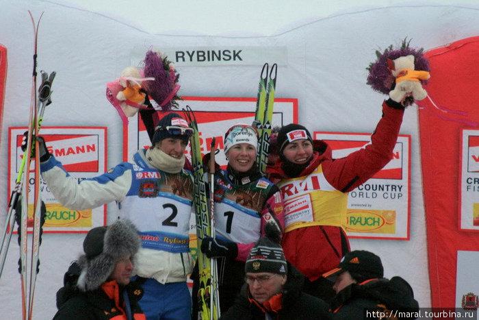 Призёры женского спринта Весна Фабиан (1-е место), Магда Дженуин (2-е место), Юстина Ковальчик (3-е место)
