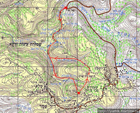 Карта маршрута. Фрагмент карты с сайта http://www.amudanan.co.il