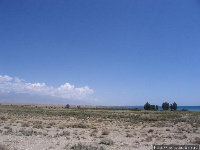 Недалеко от берега Иссык-Куля (он немного виден справа)