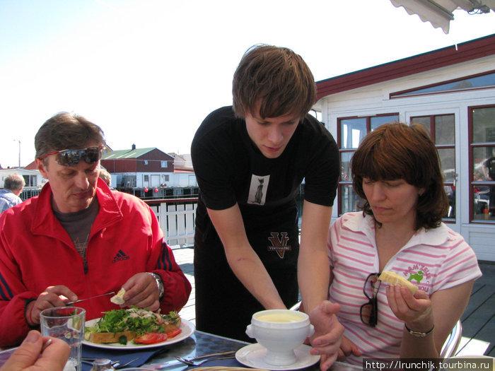 Это все заказали рыбный суп со сливками, а любимый муж, отказался со словами