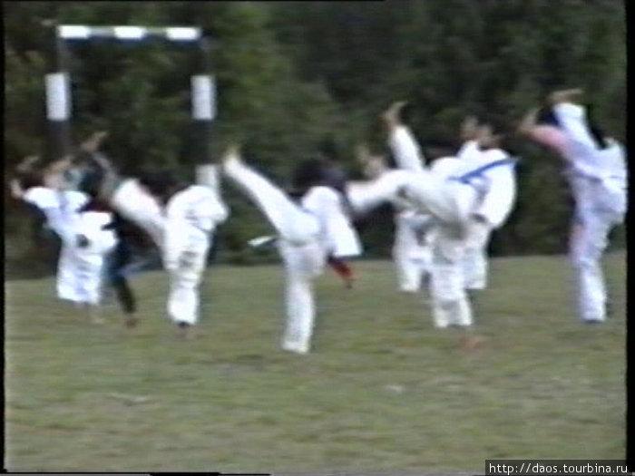 Школьники занимаются теквондо