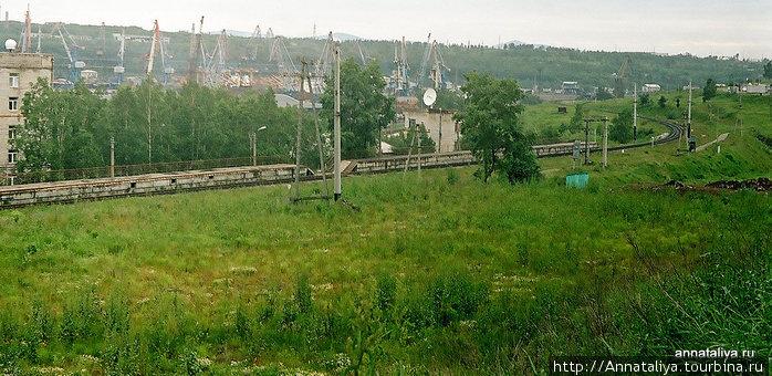 Железная дорога и портовые краны