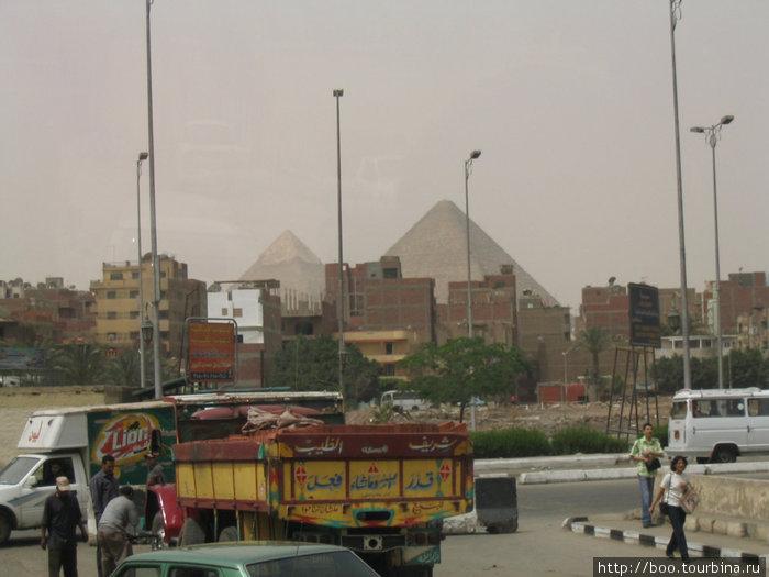 за трущобами Гизы — пирамиды