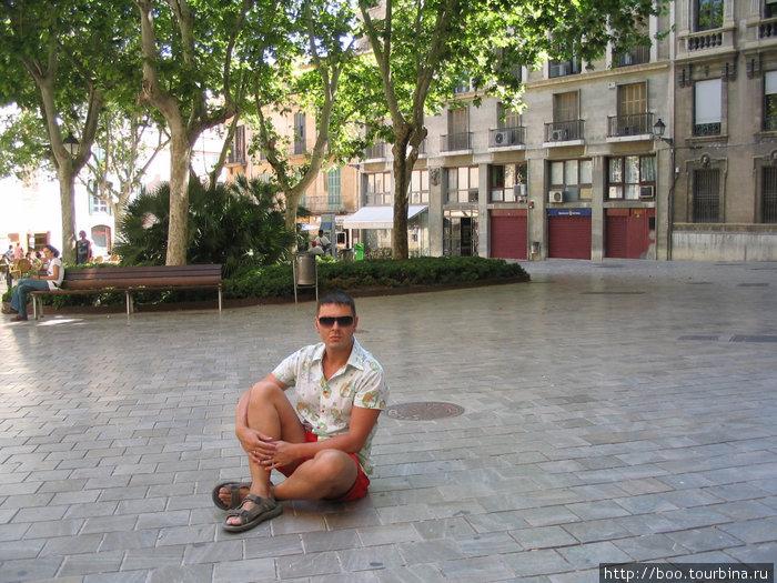 плитка на площади настолько чиста, что от нее отражаются деревья и здания!