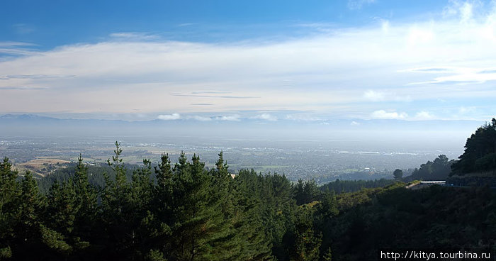 Вид на город Крайстчёрч со Знака Киви.