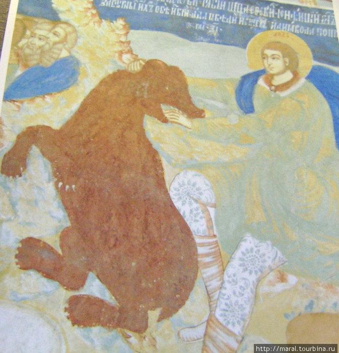 Репродукция древнерусской фрески, на которой изображён поединок князя Ярослава с медведицей