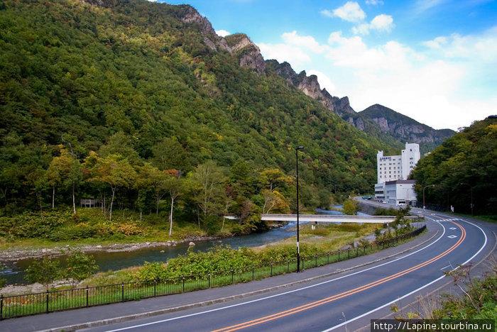 Наш отель на шоссе №39 в Соункё Онсэн