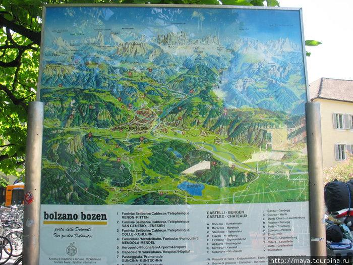 на площади большая карта гор с обозначением всех вершин и подъемников.