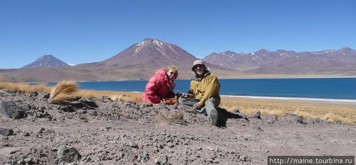 С соленой долины мы нашли дорогу в сторону Боливии и Аргентины и остановились в парке Лагуна Мисканти.На высоте 4,400 м. не хватает кислорода.