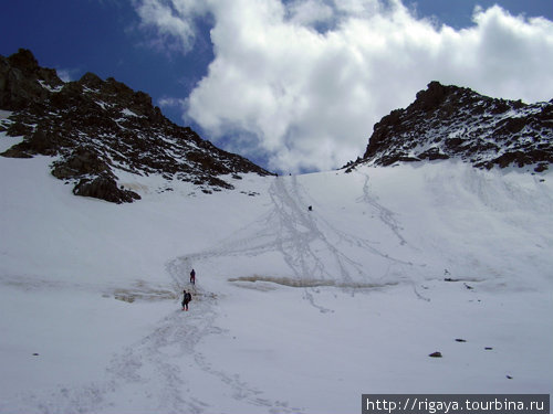Спуск с перевала Голубева, первые ребята попадали в здоровый бергшрундт