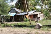 Ветхие деревянные строения в пальмовой раще