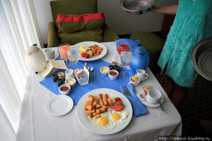 Завтрак в Мариотте. Не скажу вам, сколько это стоило, но $45 — это не мало денег.
