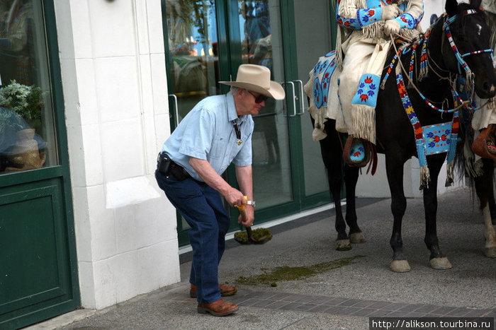 Одна из индейских лошадей облегчилась прямо на тротуар. Престарелый ковбой тут же активно всё убрал. Можно было подумать, что индейцы победили ковбоев.