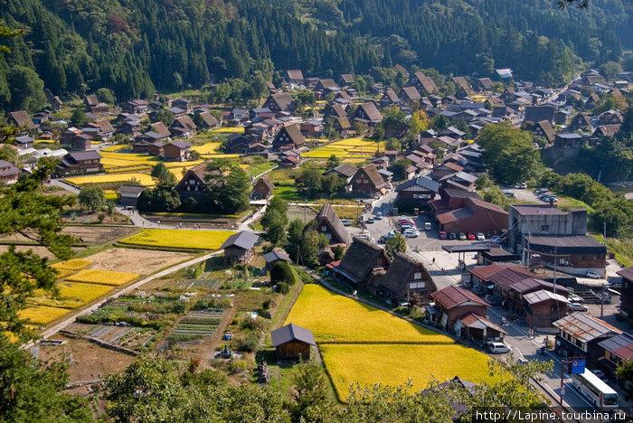 Вид на деревню со смотровой площадки на Сирояма.