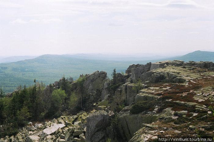 Вершина горы Ицыл, справа Европа, слева Азия
