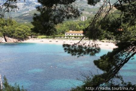 Вид из парка над пляжем