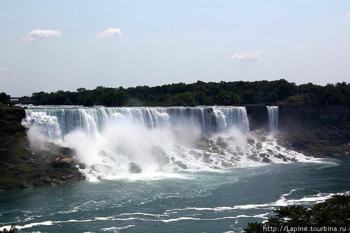 Американские водопады с канадского берега: American Falls (слева) и \