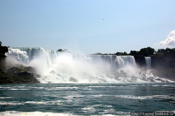 Американские водопады с воды: American Falls (слева) и \