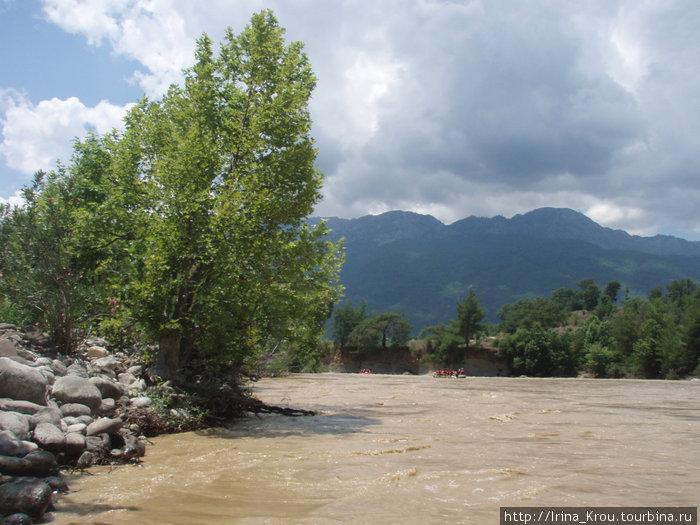 А это горная река, несколько дней в горах шли дожди, из-за этого вода стала мутной.