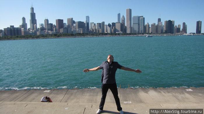 Я на фоне Чикаго и озера Мичиган