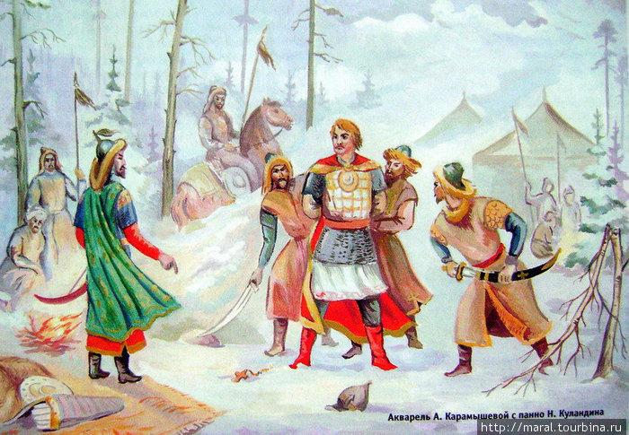 Хану ответил отважный Василько: Служить тебе не буду, с тобой не буду есть. Одно звучит повсюду святое слово — месть! Сплотится Русь и вынет единый меч. Тогда, подобно дыму сгинет, Батый, твоя орда!