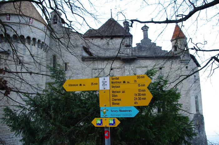 Указатель напрвлений от замка и время хотьбы до определенных пунктов