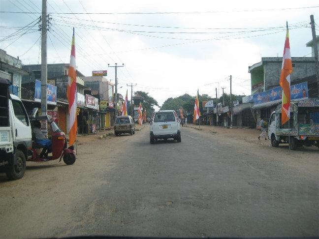 Едем. Флаги в честь толи предстоящих выборов, толи в честь прошедшего Дня Независимости Шри Ланки.