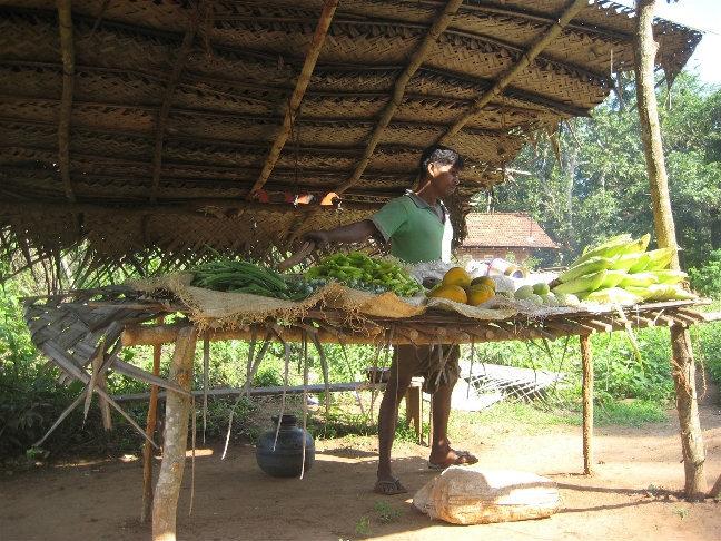Палатка с вареной кукурузой и овощами