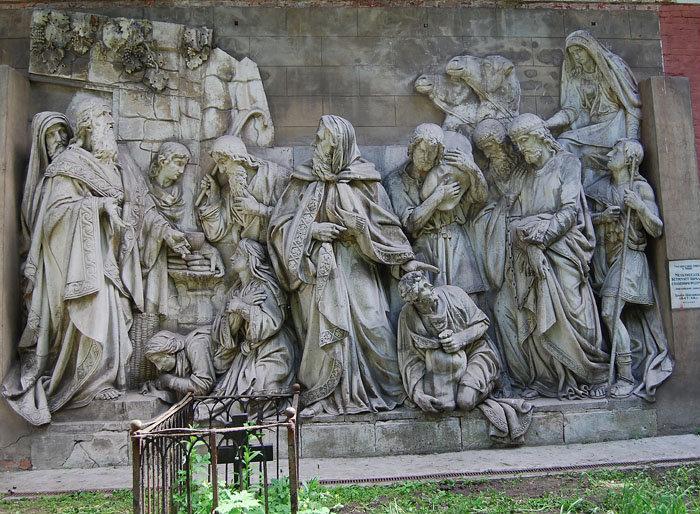 Мельхиседек встречает Авраама с плененными им царями (библейский сюжет, скульптор Логановский Л.В., 1847-49гг.)