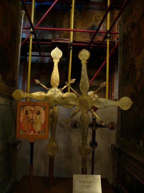 28. Музейная экспозиция Рождественского собора. Выносные кресты. Выносная икона Иоанн Предтеча. Отечество. XVII век