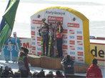Церемония награждения мужской гонки: два австрийца и норвежец